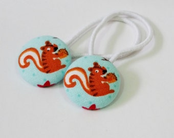 Ponytail holders - Little Squirrels on Aqua - fabric covered button hair ties