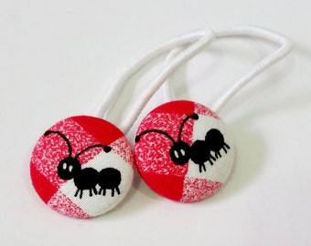 Ponytail holders - Ant Picnic- fabric covered button hair ties