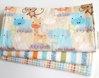 Baby Boy or Baby Girl Neutral Burp Cloth Gift Set - E is for Elephant Baby Jungle in Neutral - Set of 3 Designer Burp Pads