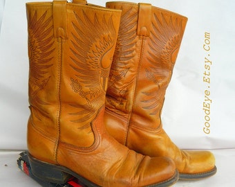 Vintage Hand TOOLED Leather BIKER Boots EAGLE Embossed  Men size 9. 5D Womens 11