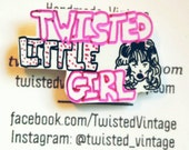 TWISTED LITTLE GIRL Hand Drawn Plastic Girl Doll Head Tack Pin Black Hot Pink White ooak