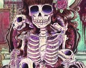 Skeleton Cat Lady with Three Cat Skeletons Poster Print 11x14