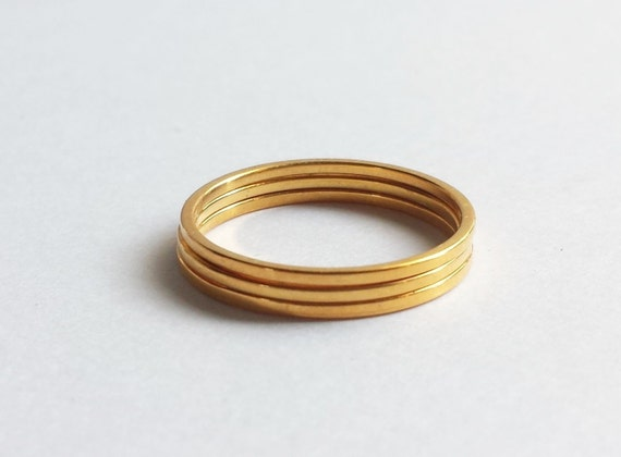 Solid 18K Gold Minimalist Stacking Rings. Custom Made to Order Stacking Rings.