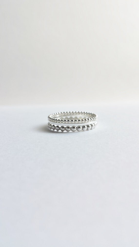 Set of Three Custom Sterling Silver Stacking Rings