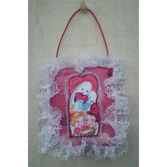 Valentines Day retro ghost decoration vintage style home decor ornament