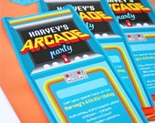 ARCADE Party Invitation & Address Label - DIY Printable - Customised PDFs
