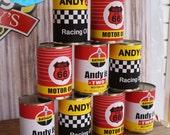 VINTAGE RACING Party Oil Can Labels - DIY Printable - Customised pdf