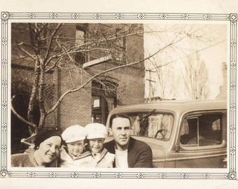 vintage photo Mom Dad & the Twin boys by Car Out of Frame