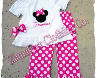 Custom Boutique Girl Minnie Mouse Outfit Set PINK Polka Dot Pant Set Top Ruffle Set Size 3 6 9 12 18 24 month 2t 2 3t 3 4t 4 5t 5 6 7 8