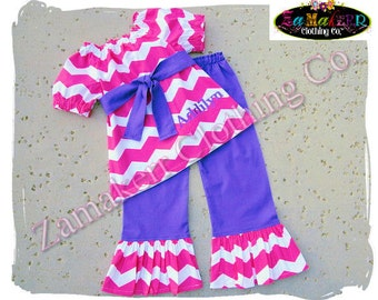 Boutique Girl Pink Purple Chevron Clothing Pant Set Pageant Birthday Gift Toddler Top Outfit Size 3 6 9 12 18 24 month 2t 3t 4t 5t 6 7 8