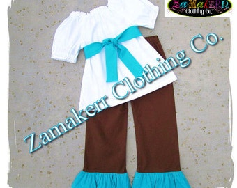 Custom Boutique Girl Blue Aqua White Brown Outfit Set Birthday Pant Set Top Ruffle Set Size 3 6 9 12 18 24 month 2t 2 3t 3 4t 4 5t 5 6 7 8