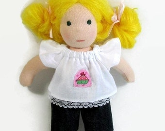 8 inch Waldorf doll top and bottom - cupcake and denim outfit - waldorf clothing - doll clothes
