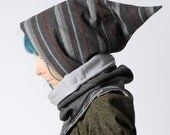Grey hooded scarf, Striped grey cowl with hood, Pixie hooded cowl in striped grey, removable hood