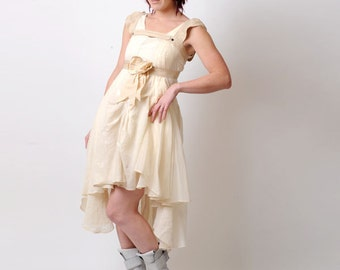 Assymetric wedding dress - Unique layered dress with freeform stitching and Bow silk harness - short wedding dress