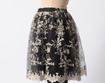 Black lace skirt, black and white tulle, pleated black lace skirt, short black skirt