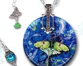 Petite Luna Moth Necklace - Reversible Glass Art Necklace - Nouveau Jardin Collection - Petite Luna Night Wing