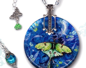Petite Luna Moth Necklace - Reversible Glass Art Necklace - Nouveau Jardin Collection - Petite Luna Night Wing