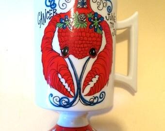 Vintage Smug Mug Zodiac Pedestal Mug - Arnart -  Cancer the Crab, 1969