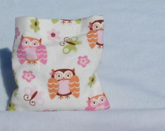 Boo boo pack- hot/cold therapy rice bag-removeable cover- owls , butterfly's , flowers