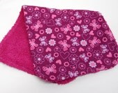 Baby Girl Burp Cloths, Baby Shower Gift, Welcome Baby Gift: Butterflies/Hearts on Maroon