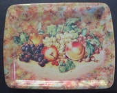 Vintage Daher Decorated Ware English Tin Cookie Biscuit Cheese Tray Still Life Fruit Pattern
