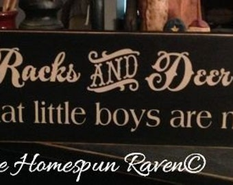 Rifles Racks and Deer Tracks boys made of Primitive Handpainted Wood Sign Plaque BRAND NEW