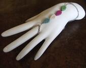Color Wheel Silver Plated Howlite Leaves Harem bracelet