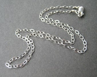 16 Inch Sterling Silver Chain Necklace, 2.7mm Flat Cable Chain, Simple Silver Necklace, Lobster Claw Clasp, .925 Sterling Silver Chain