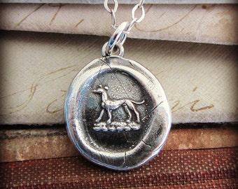 Greyhound Wax Seal Necklace, Greyhound Jewelry in eco friendly fine silver - symbolic of Courage, Vigilance and Loyalty - RP850