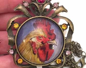 Chicken jewelry,  rhinestone pendant, rooster print,  art jewelry with necklace. Heather Sims