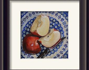 Polish Pottery rustic kitchen wall decor art print, apple print, food art painting, blue kitchen decor, still life art kitchen art print