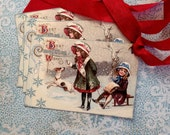 Vintage Christmas Tags - Victorian Girls with Dog, Snow Tags - Snowflakes Christmas - Best Christmas Wishes - Set of 4