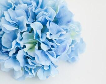Silk Flower Hydrangeas - 60 Large Hydrangea BLOSSOMS in Sky Blue - Artificial Flower Hydrangeas - ONE Hydrangea Head
