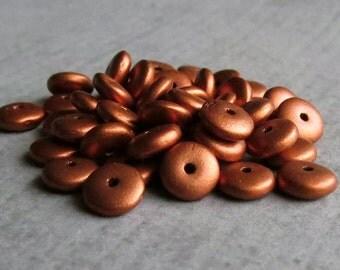 6mm Matte Metallic Antique Copper Czech  Glass Bead Rondelle Spacer : 50 pc Copper Rondelle Beads