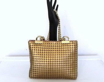 1960s Whiting Davis Copper Mesh Mail Chain Shoulder Bag Small Double Chain Strap