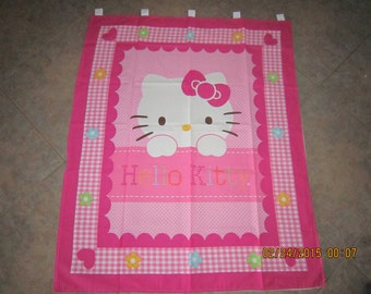 """Hello Kitty Hearts Flowers Polka Dots Pink Gingham Wall Hanging 35"""" x 42 (backed in white cotton fabric) Clearance Sale 25% off*"""