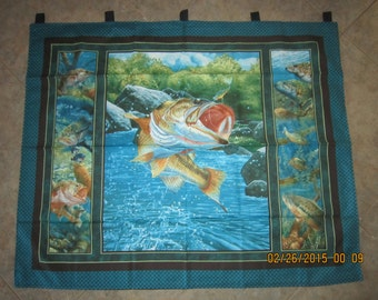 """Still Water Bass Fishing Wall Hanging 34.5"""" x 42"""" (backed in black cotton fabric) with 5 loops to hang up - Clearance Sale 25% Off*"""