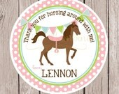 Horse Birthday Party Favor Tags or Stickers / Pony Favor Tags in Pink, Green and Blue / Set of 12