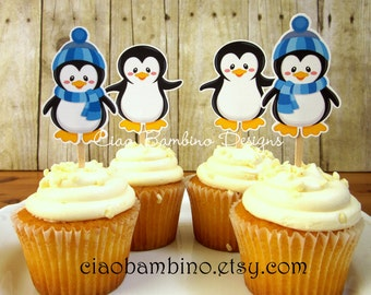 Penguin Cupcake Toppers / Die Cut Cupcake Toppers for Winter ONEderland Birthday or Baby Shower / Wonderland / Set of 12 Toppers - 009