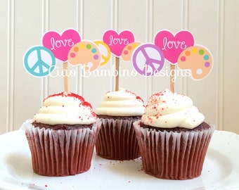Peace, Love, Paint Birthday Pary Cupcake Toppers / Painting Party, Art Party, Craft Party, Pottery Party Cupcake Toppers / Set of 12