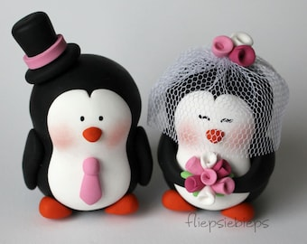 Custom Penguin Wedding Cake Topper