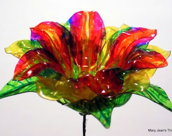 Fantasy Flower with Rainbow and Yellow Petals Upcycled from Plastic Water Bottles One of a Kind