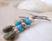 Titanium Wire Earrings - Hypoallergenic Earrings for Sensitive Ears - Dangle Earrings - Bead Jewelry - Glass Bead Jewelry - Blue Earrings
