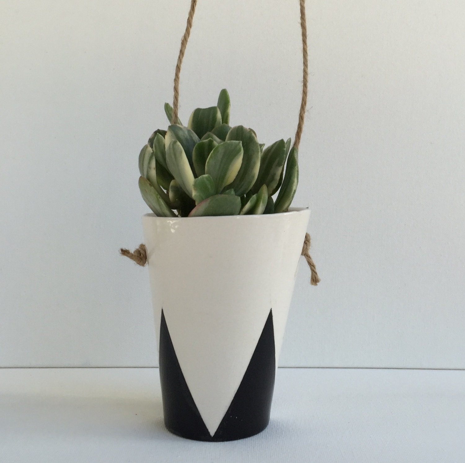 Hanging Planter with Modern Black Triangle Design by LunaReece
