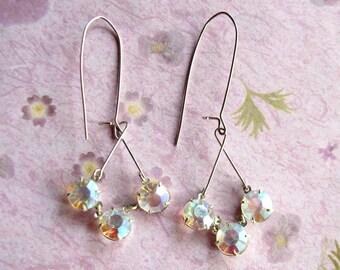 Upcycled Earrings Silver AB Earrings Dangle Earrings Lightweight Earrings Original Design, Gift for Her Jewelry
