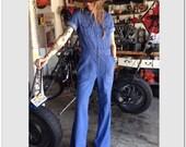 Vintage Denim Jumpsuit Wild Oats Deadstock 38 40 Cotton high Fashion Hipster bellbottoms bell zip front BOHO festival