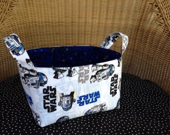 Fabric Basket Storage Bin Made from Star Wars Fabric - R2D2