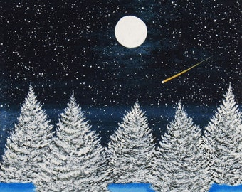 Red Blue Australian Cattle Dog Art PRINT Todd Young painting SNOWY NIGHT