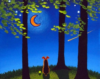 Airedale Welsh Terrier Dog Art PRINT by Todd Young SPRING NIGHT