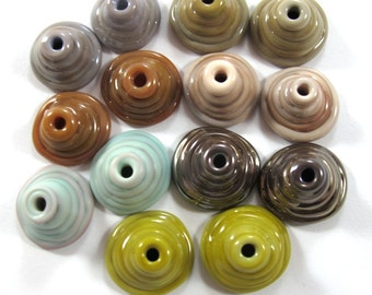 Handmade Lampwork Beads Glass - Lampwork beads set - Mix Caps, winter- Cone Shape Bead Caps  (14) SRA